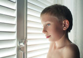 Little boy posing in front of a window with blinds with a funny expression — Stock fotografie