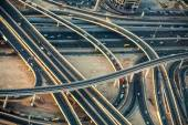 Highway road intersections with traffic in a big city (Dubai) — Stock fotografie