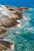 The rocky coast of Naussa, Paros — Stockfoto