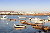 Fishing boats in Naussa bay, Paros — Stock Photo