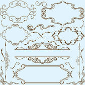 Victorian style elements set — Stock Vector