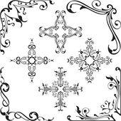 Ornament baroque corners set — Stock Vector