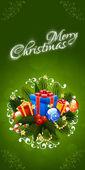 Tarjeta de felicitación de navidad. letras de navidad feliz — Vector de stock