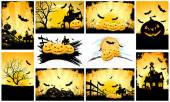 Halloween Backgrounds Party Set — Stock Vector