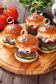 Mini hamburgers — Stock Photo