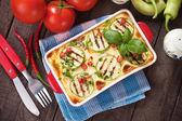 Moussaka dish with zucchini and chili pepper — Stock Photo