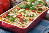 Moussaka dish with zucchini and chili pepper — 图库照片