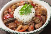 Pork and okra gumbo meal — Zdjęcie stockowe