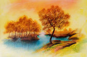 Landscapes on oil canvas — Stock Photo