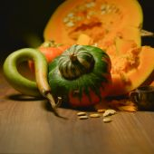 Fall Squash on old woods — Stock Photo