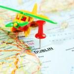 Dublin Ireland ,United Kingdom map airplane — Stock Photo #54150923