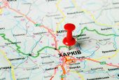 Charkov, Ukraina karta — Stockfoto