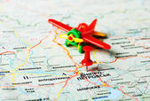 Dnepropetrovsk  ,Ukraine Russia airplane map — Stockfoto