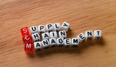 SCM Supply Chain Management on wood — Stock Photo