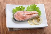 Steamed salmon — Stock Photo