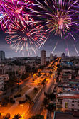 Festive New Year's fireworks over Havana, Cuba — Foto de Stock