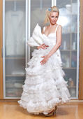 The beautiful woman with a wedding dress — Stock Photo