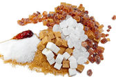 Granulated sugar, sugar not refined, sugar candy white and brown — Stock Photo