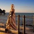 The young beautiful woman on a wooden platform over the sea — Stock Photo #57478999