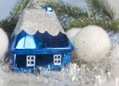 Dark blue New Year's toy small house- idea of dream of own house in New year — Stock Photo