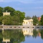 Russia, Peterhof (Petrodvorets). Olga's Pavilion on island in Olga's pond. — Stock Photo #67744801