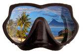 The tropical landscape is reflected in mask glasses for a snorkeling (diving) — Stock Photo