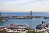 The top view on the seaport with the cruise ships 9 May 2010, Barcelona, Spain — Stock Photo