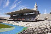 Barcellona, Spagna - 10 maggio Tribune vuote sullo Stadio Olimpico di Barcellona il 10 maggio 2010 a Barcellona, Spagna. — Foto Stock