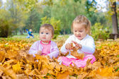 baby and little girl have fun with autumn leaves — Stockfoto