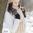 Smiling Lovely Young Woman Winter Portrait — Stock Photo #66988101
