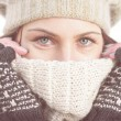Winter Portrait of Female with Beautiful Blue Eyes — Stock Photo #66988321