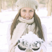 Happy Beautiful Winter Woman — Stock Photo