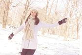 Enjoyment Happy Lovely Relaxing Young Woman Enjoying Winter — Stock Photo