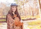 Happy Young Woman Outdoor Winter Fall — Stock Photo