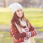 Beautiful Happy Smiling Girl Outdoor — Stock Photo