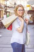 Happy Shopping Young Woman — Stock Photo