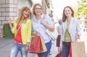 Shopping Female Friends Buying Outdoor — Stock Photo