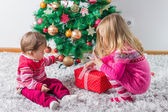 Children With Christmas present — Stock Photo
