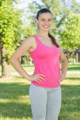 Fitness, Sporty ,Healthy Lifestyle , Smiling Female Relaxing — Stock Photo