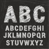 Chalk alphabet on black background.  — Stock Vector