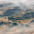 Aerial view of agricultural fields in La Garrotxa, Catalonia — Stock Photo #63753803