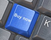 Keyboard with hot key for buy now — Stock Photo