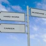 Road sign to career, success, and mundane job — Stock Photo #69413437