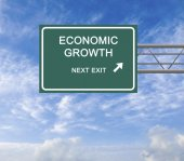 Road sign to economic growth — Stock Photo