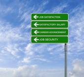 Direction road sign with  words job satisfaction, satisfactory s — Stock Photo