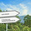 Road signs to savings and financial independence — Stock Photo #72344959