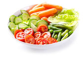 Plate of salad with fresh vegetables — Foto de Stock