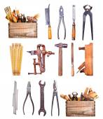 Old tools isolated on white background — Stock Photo
