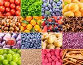 Collage de divers fruits et légumes — Photo