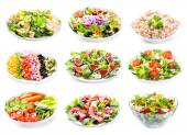 Set of various salads — Stock fotografie